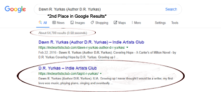 Dawn R. Yurkas (D.R. Yurkis Author) on Indie Artists Club is 1st and 2nd place on a Google Search