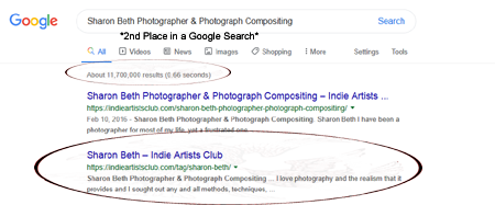 Sharon Beth on Indie Artists Club is 2nd place on a Google Search